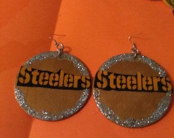 large glitter steelers earrings