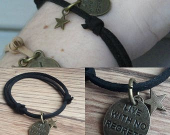 Suede adjustable suede with bronze charms bracelet. French product