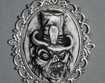 Zombie Jewelry - Skeleton Ghoul with Casket Motif Tophat - Celebrate Halloween Everyday
