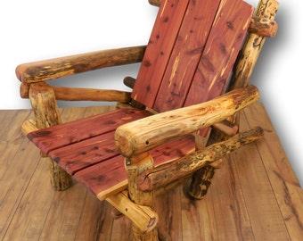 Custom Adirondak Chair Rustic Wood Furniture Wooden Cabin Decor Wooden Chair Reclaimed Wood Furniture Lake House Decor Rustic Decor