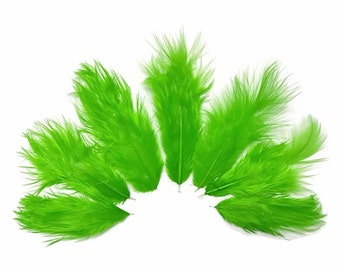Green Fluffy Feathers, 1 Dozen - Solid Green Rooster Chickabou Fluff Mini Feathers : 552