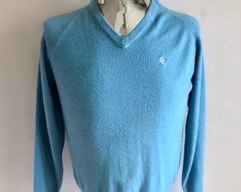 Vintage Mens 80's Christian Dior, Sweater, Baby Blue, Long Sleeve, V Neck (M)