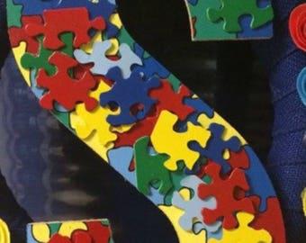 Puzzle piece Wooden letter-autism awareness- puzzle pieces-wood letters- colorful