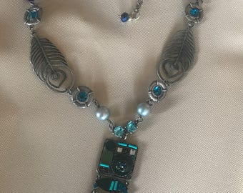 Blue and Pewter Necklace Set