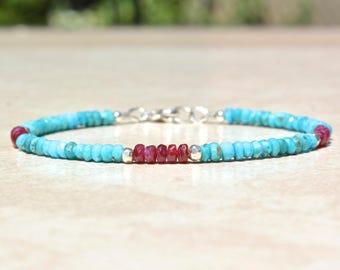 Sleeping Beauty Turquoise Bracelet, Ruby Bracelet, Birthstone Bracelets, December July Birthstone, Beaded Gemstone Bracelet, Gift For Her