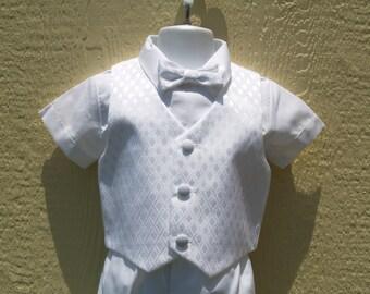 Boys Toddler White Short Pants Suit & Vest w Diamond Design,Short Sleeves Shirt,Bow Tie,Cap, Baptism, Christening, Blessing Day, Ring Bearer