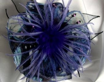Large barrette flower fabric, organza, feathers and pearls 215