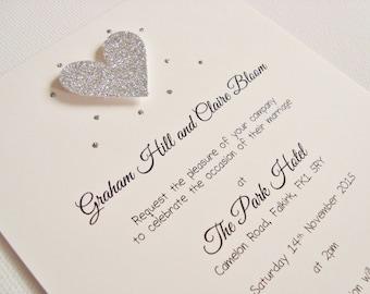 Personalised Handmade Glitter Heart Wedding Invitation Sample