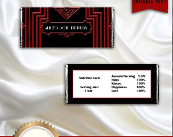 Printable Great Gatsby Art Deco Candy Bar Wrapper, Red, Black, White, Elegant - Digital File - EDITABLE text - DOWNLOAD Instantly