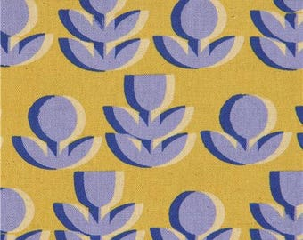 216448 chartreuse Canvas fabric with flower by Kokka Japan