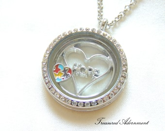 READY to SHIP, Autism Awareness Jewelry, Floating Locket Necklace, Puzzle Piece Heart, Hope, Gift for Mom, Autism Mom, Thank you gift