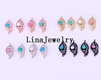 New 8Pcs  Cubic Zirconia Charm Beads Micro Pave CZ Eye Connector Beads Fashion Jewelry