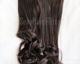 "24"" Medium Brown Hair Extensions, Extensions, Chocolate Brown Hair Extensions, One Piece Multi-Weft Clip in Extension - Volume and Length"