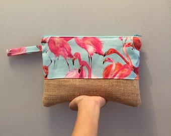 Casual clutch, summer clutch, burlap clutch, make up pouch, pencil pouch, zippered clutch, birthday gift, flamingos print, travel pouch