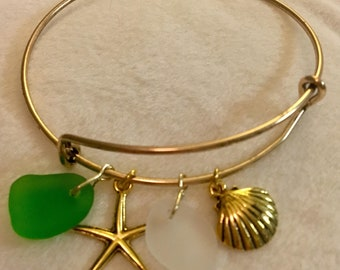 White and Green Gold Sea Glass Bracelet
