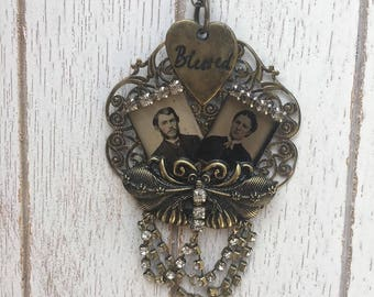 Altered Assemblage Necklace Genuine Gem Tintypes Victorian Couple