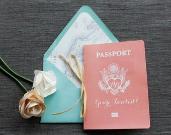 Fly Away Passport Wedding Invitation - Boarding Pass RSVP - Available in all colors + foil