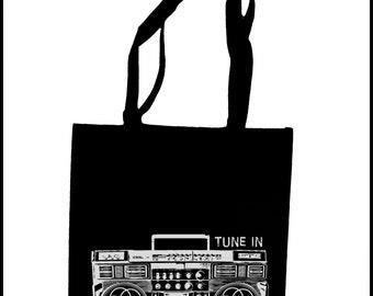 Boom Box Tote Bag  Screen Print Black Sacred Geometry Radio Black
