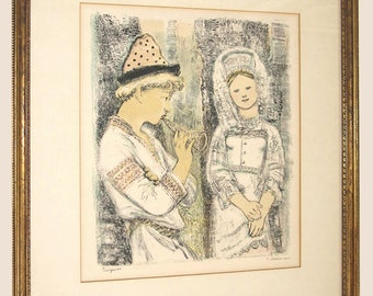 Russian Artist Alexandra Yakobson Pencil Signed Color Lithograph The Snow Maiden 1960 Custom Frame