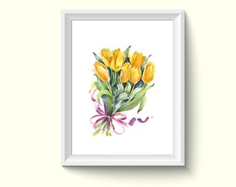Yellow Tulip Flowers Watercolour Painting Drawing Art Print N499