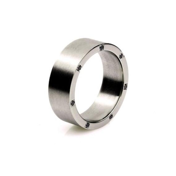 Palladium ring black diamond wedding band men wedding band