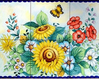 Ceramiche di Vietri Pannello 40x60 con fiori su piastrelle 20x20