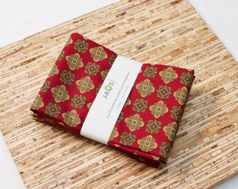 Large Cloth Napkins - Set of 4 - (N3127) - Foulard Red Modern Reusable Fabric Napkins