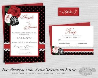 Rockabilly Wedding Invitations, Rustic Wedding Invites, Printable Country Wedding, DIY Floral Wedding Invitations w/ Roses Red, Black, White