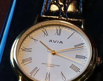Avia gold-plated mens quartz dress watch