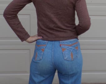 high waisted VINTAGE LEVI'S JEANS 1970s 70s M