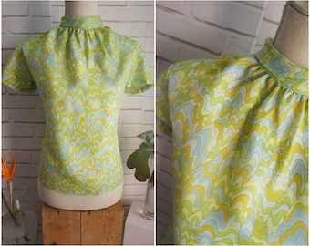 60s Mad Men style Silk Blouse. Large size silk blouse. Lime Green and Pale Blue Groovy print.