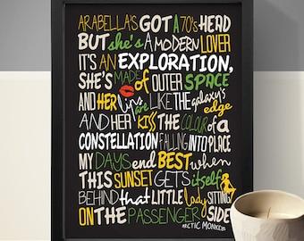 Arctic Monkeys - Arabella / Song Lyric Typography Poster