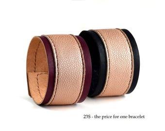 Wide Leather Bracelet Black Leather Cuff Bracelet for Women Wide Leather Cuff Womens Black Wristband Handmade leather bracelet Burgundy cuff