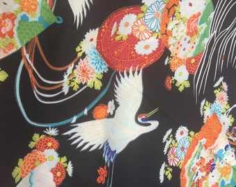 Shamash & Sons Pattern: P12847 Japanese Cranes, Fans and Flowers Fabric Up to 3 1/2 yards +