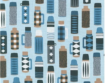 Thermos on Blue from Robert Kaufman's Burly Beaver Collection by Andie Hanna