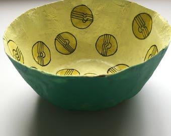 Handmade paper mache bowl