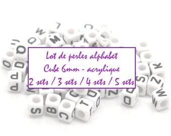 Alphabet cube 6mm - Set of 2 beads / 3 / 4 or 5 complete alphabets (52/78/104/130 beads)
