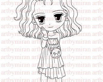 Digital Stamp-Shy-lane(#98), Digi Stamp, Coloring page, Printable Line art for Card and Craft Supply