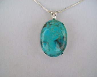 Large Genuine Natural Turquoise Pendant 30x22mm in Sterling Silver