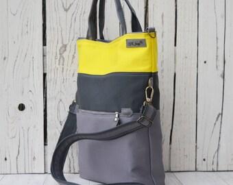Grey Yellow Messenger Tote Bag, Gray Yellow Canvas Backpack, Women Laptop Bag, Canvas Crossbody Bag, Stripes School Bag, Unique gift