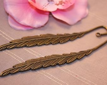 5 pattern Bronze bookmarks feather 12cm