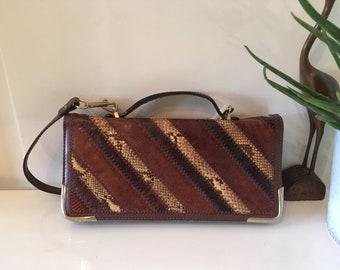 Snake Leather * schoulderbag * handbag * clutch * python * mid century * Perfect condition