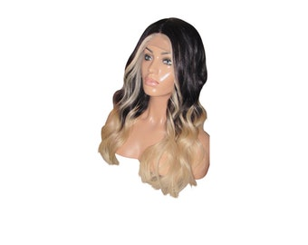 """Ready to Ship! Moklox 100% Remy Human Hair Front Lace Wig 20"""" Long Black 1b Light Blonde 60 Ombre Balayage Wavy Wave Body Curly 150 Density"""