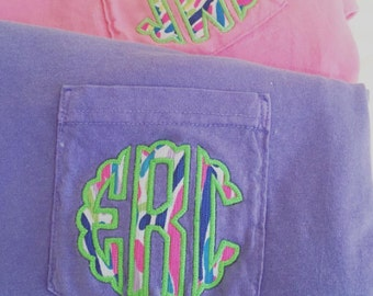 Monogrammed Lilly Pulitzer Appliqué Short Sleeve Comfort Colors Pocket T-shirt