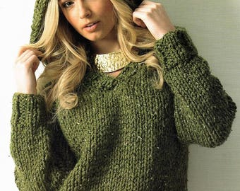 Ladies Sweater With Hood, Easy & Quick Knit, Knitting Pattern. PDF Instant Download.