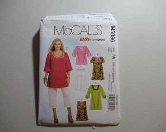 McCall's Sewing Pattern 5896 Womans Plus Size Easy Pullover Tops,  Dresses, and Capri Pants