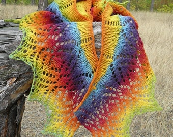 Knitted lace shawl scarf Rainbow shawl wrap Wool lace shawl for women Gift ideas for her