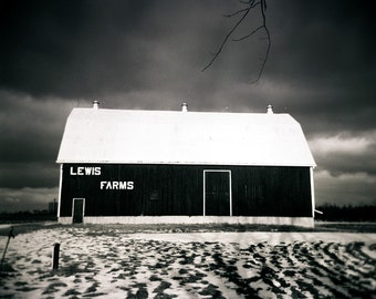 black white barn photo, black white landscape, home decor, holga, moody landscape, dramatic, snow, winter, farm, barn photo, ontario, rustic