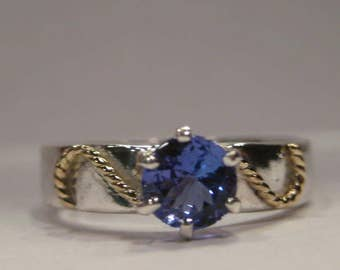 Beautiful Natural Tanzanite Ring ... Sterling Silver and 14 kt Yellow Gold ...  Size 6.5 ........  A10