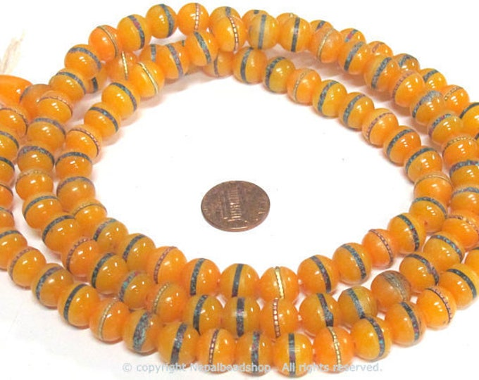108 mala beads - 10 -11 mm Tibetan honey yellow resin 108 mala beads and Guru bead supply with brass ,turquoise coral inlay - ML110A